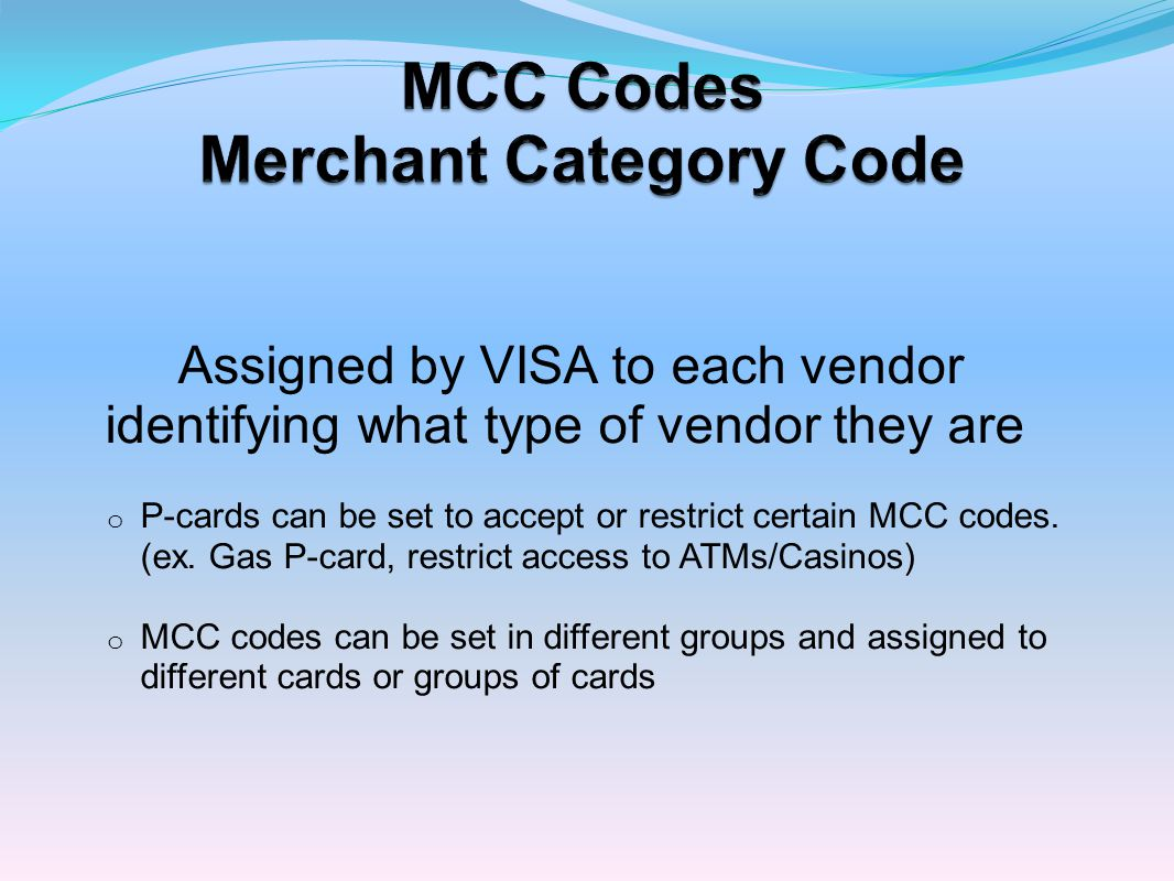 MCC Codes Merchant Category Code