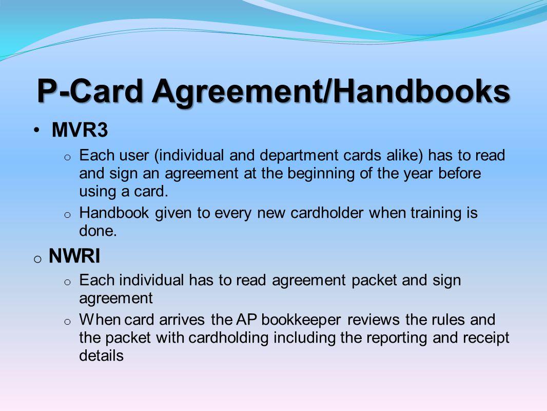 P-Card Agreement/Handbooks