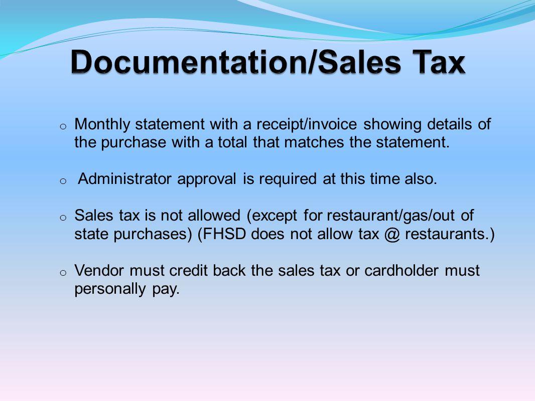 Documentation/Sales Tax