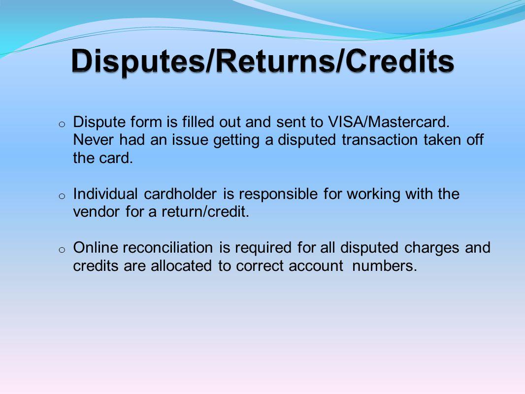 Disputes/Returns/Credits