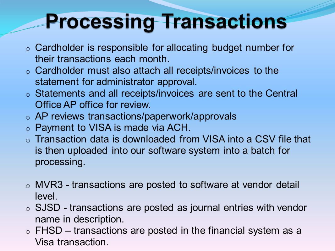 Processing Transactions
