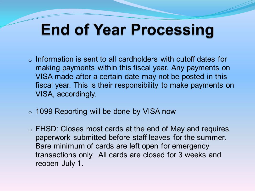 End of Year Processing