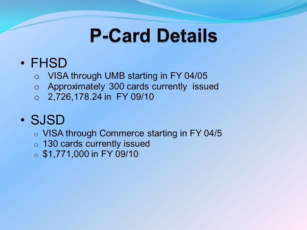 P-Card Details FHSD SJSD VISA through UMB starting in FY 04/05