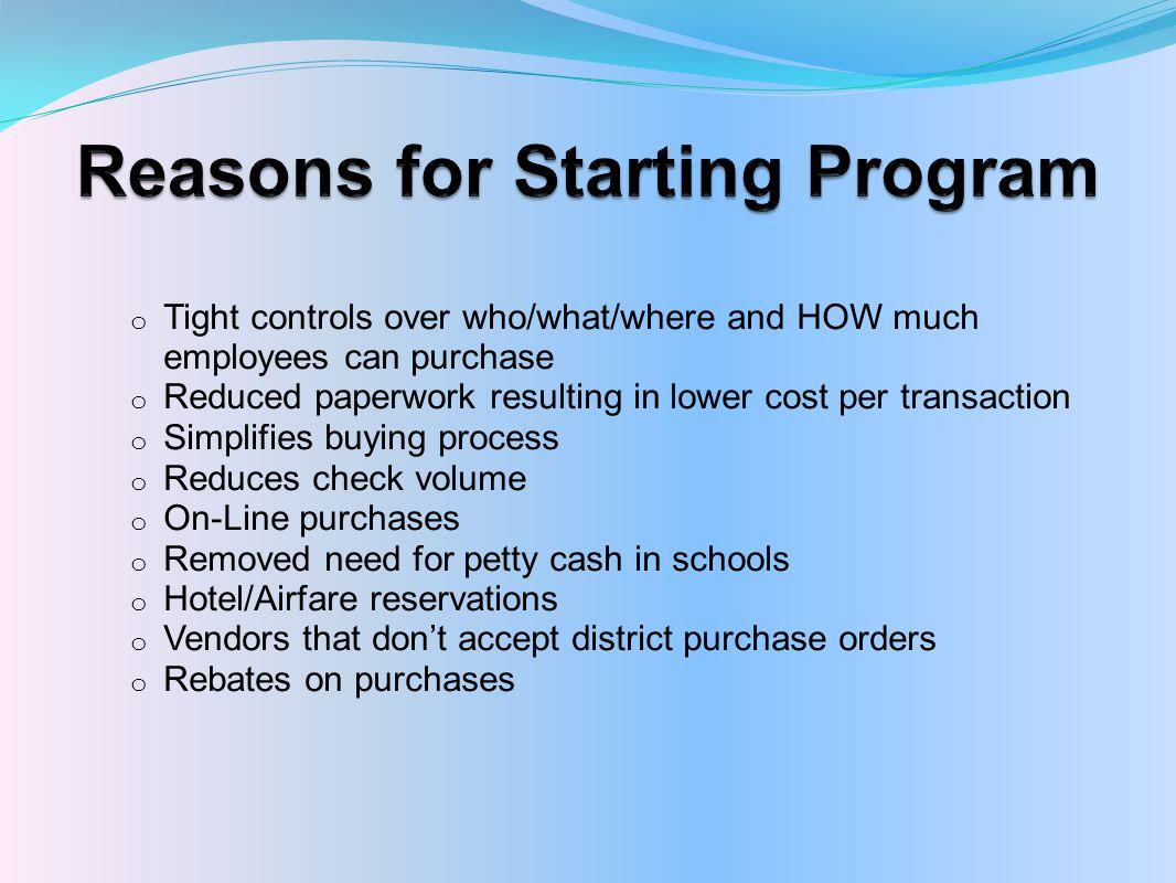 Reasons for Starting Program