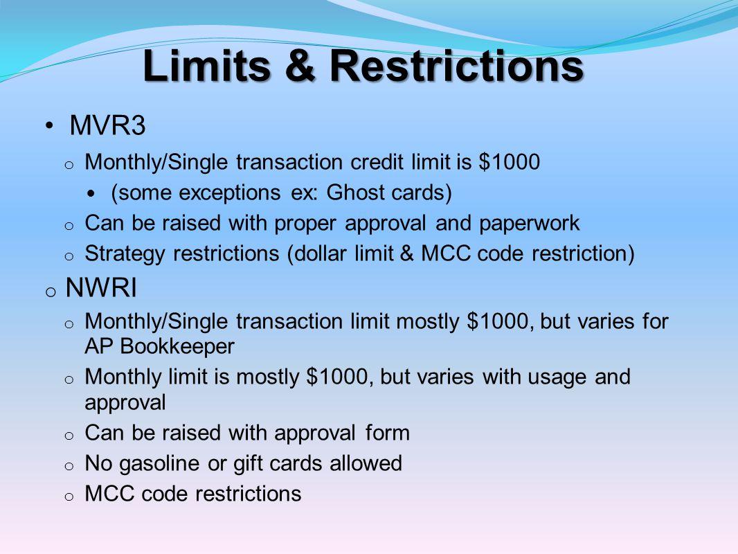 Limits & Restrictions MVR3 NWRI