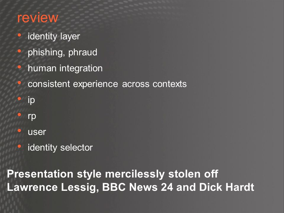 review Presentation style mercilessly stolen off