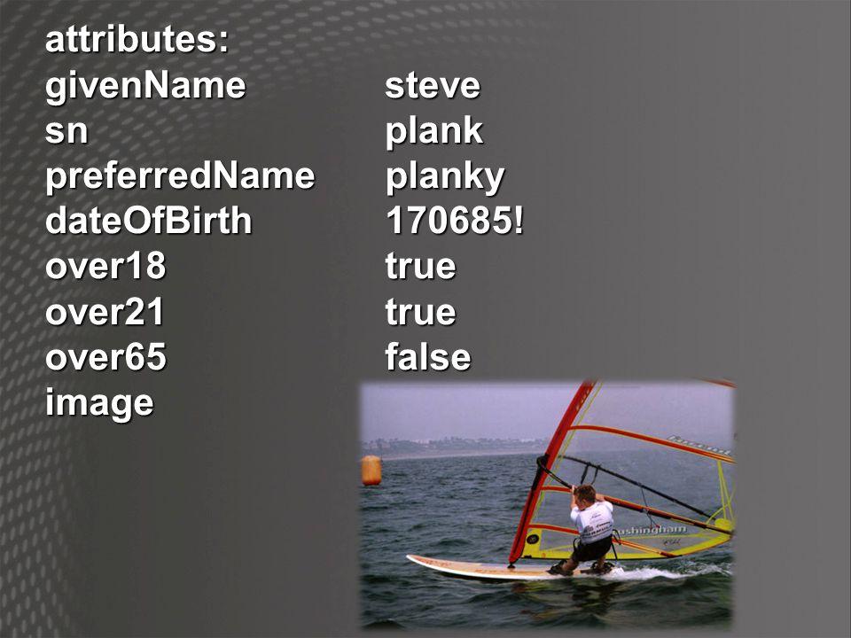 attributes: givenName. sn. preferredName planky. dateOfBirth 170685! over18 true. over21 true.