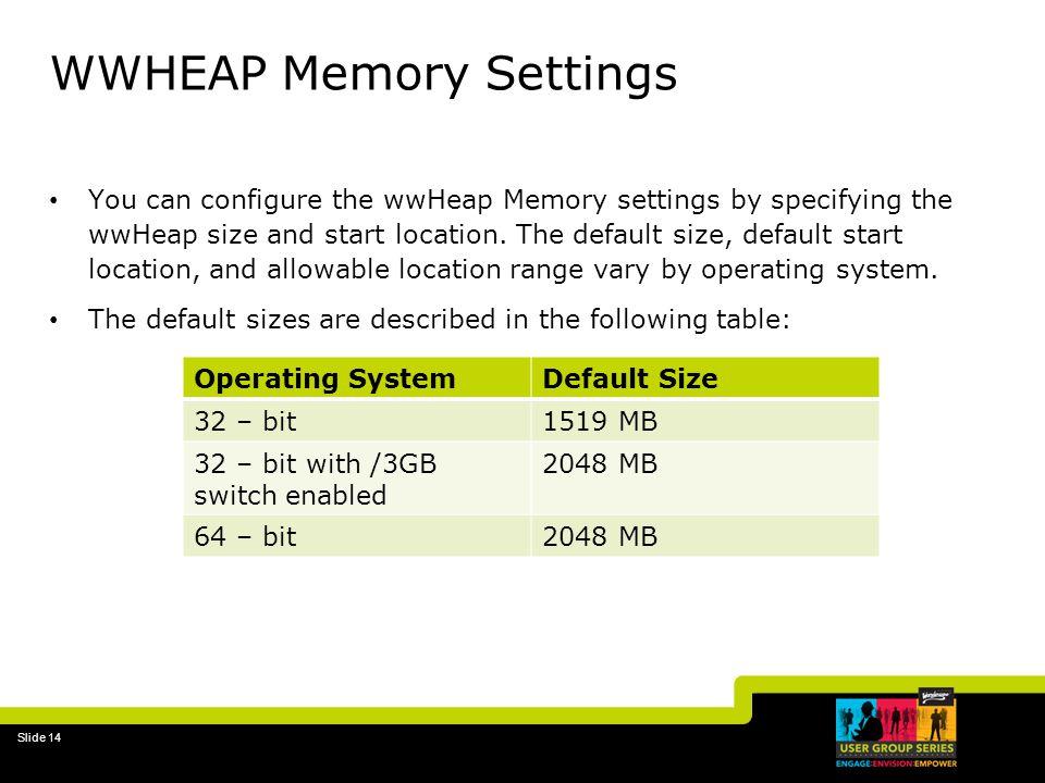WWHEAP Memory Settings