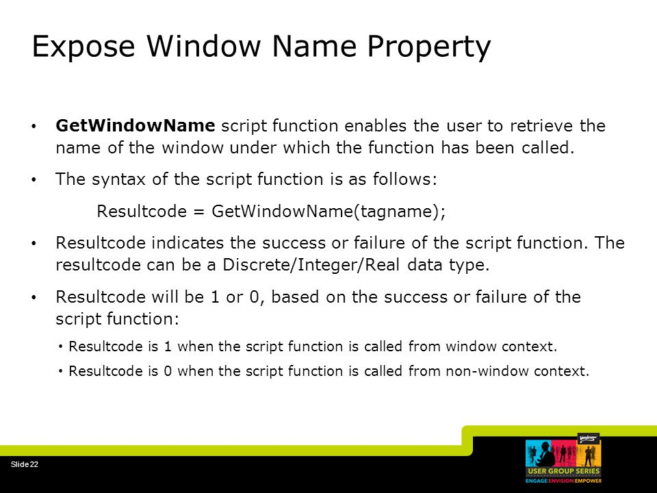 Expose Window Name Property