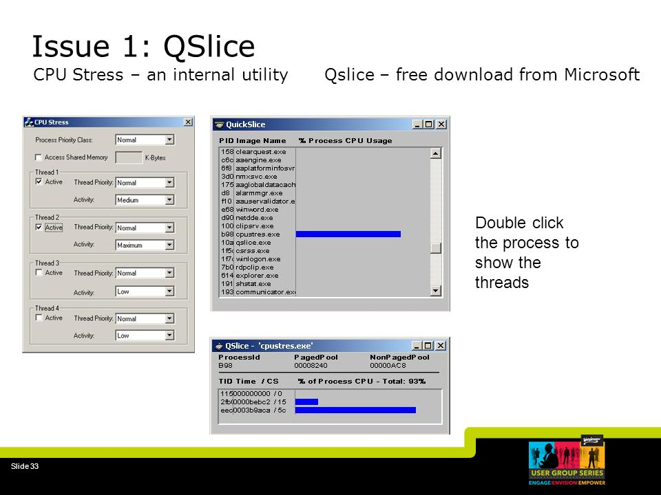 31-Mar-17 Issue 1: QSlice. CPU Stress – an internal utility Qslice – free download from Microsoft.