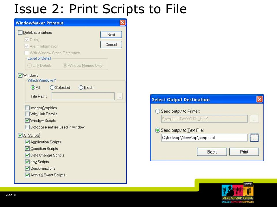 Issue 2: Print Scripts to File