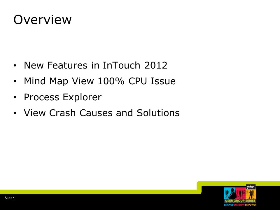 Overview New Features in InTouch 2012 Mind Map View 100% CPU Issue