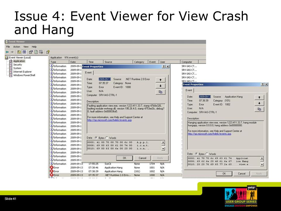 Issue 4: Event Viewer for View Crash and Hang