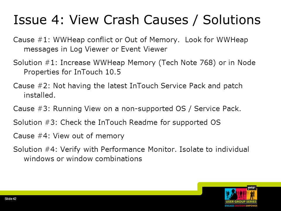 Issue 4: View Crash Causes / Solutions