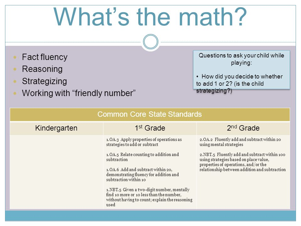 What's the math Fact fluency Reasoning Strategizing