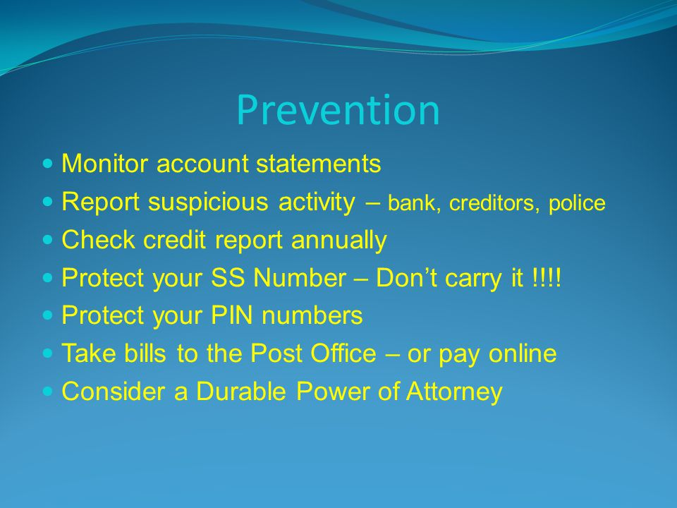 Prevention Monitor account statements