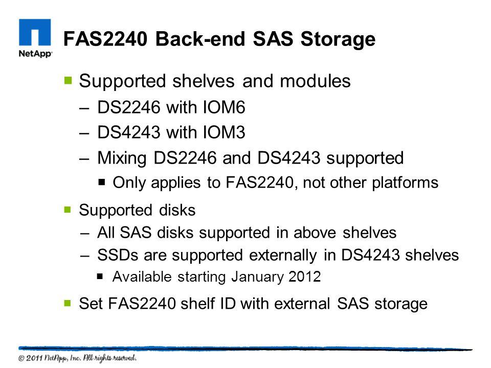 FAS2240 Back-end SAS Storage