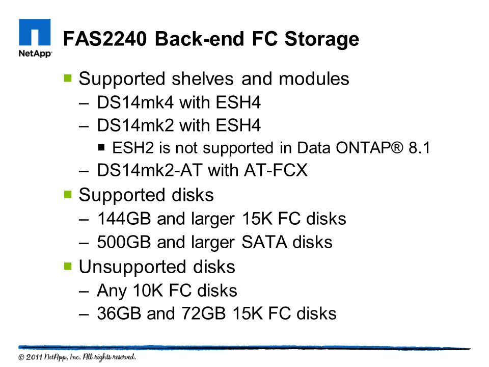 FAS2240 Back-end FC Storage