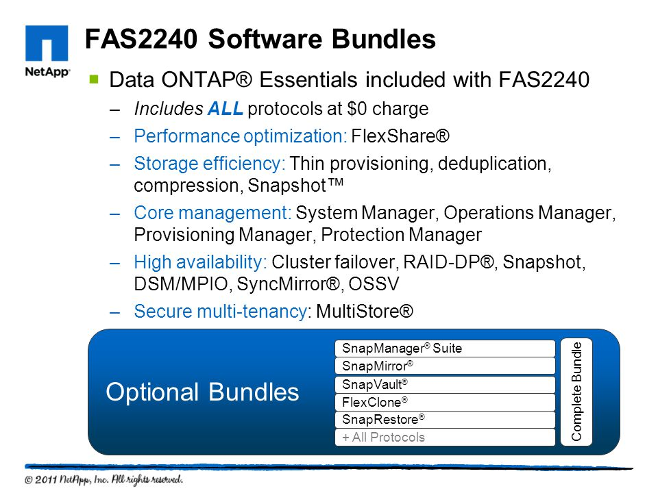 FAS2240 Software Bundles Optional Bundles