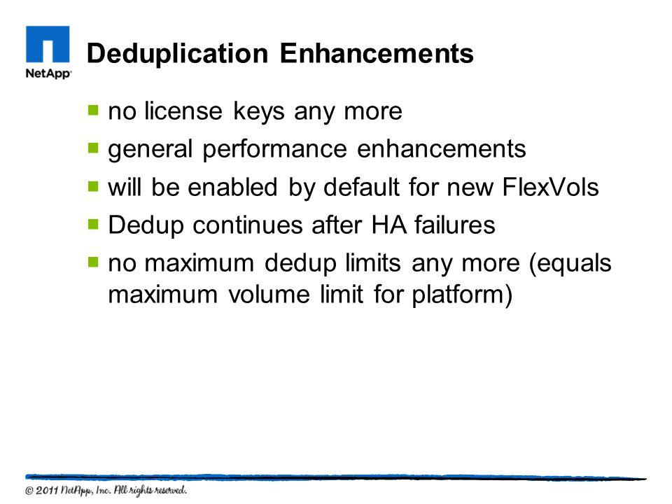 Deduplication Enhancements