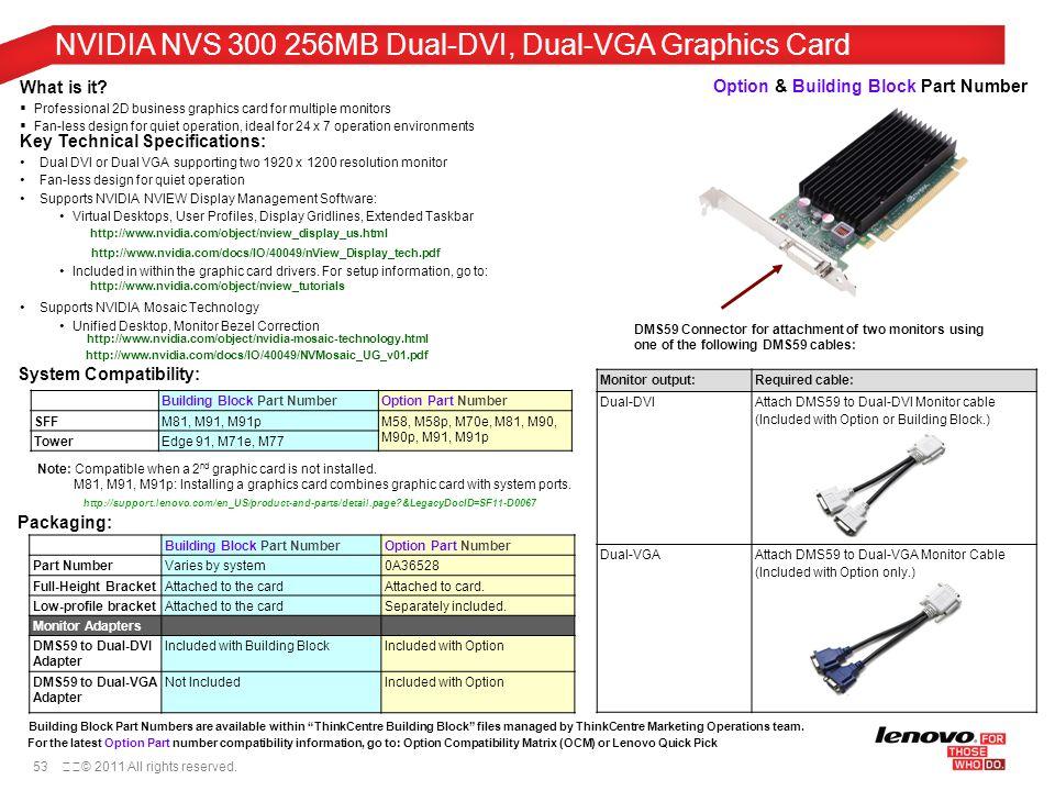 NVIDIA NVS 300 256MB Dual-DVI, Dual-VGA Graphics Card