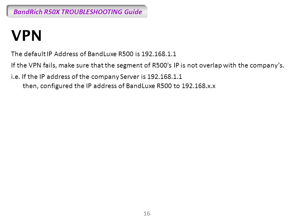VPN The default IP Address of BandLuxe R500 is 192.168.1.1