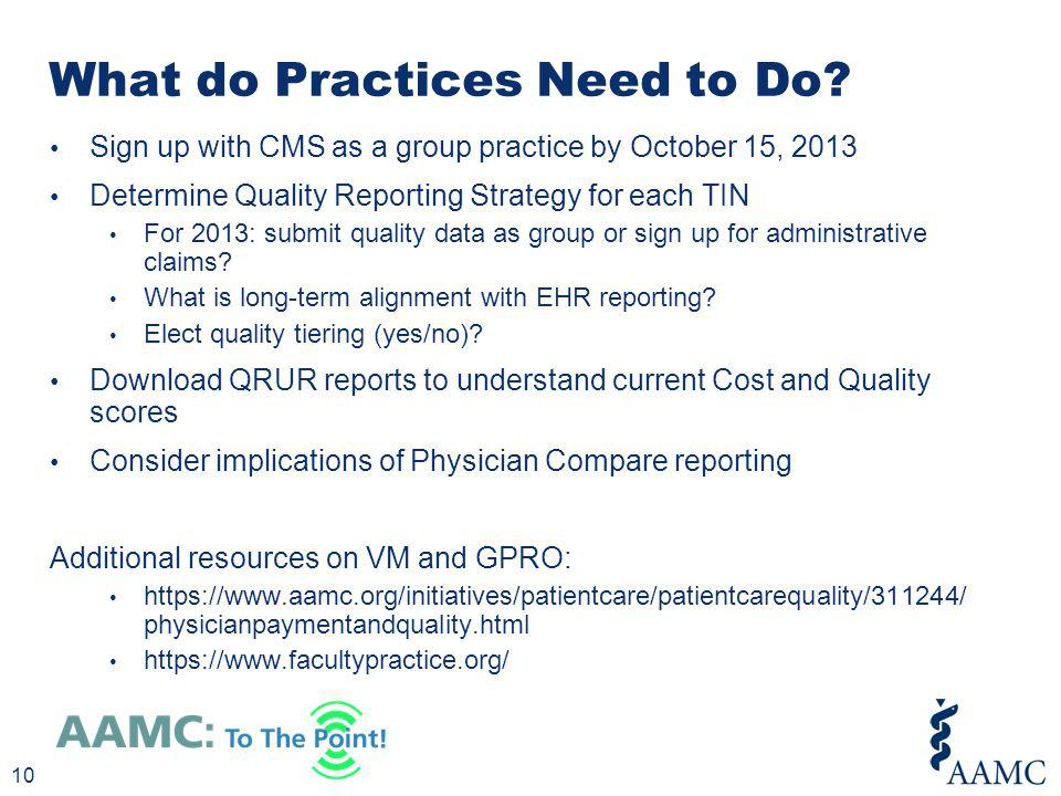 What do Practices Need to Do