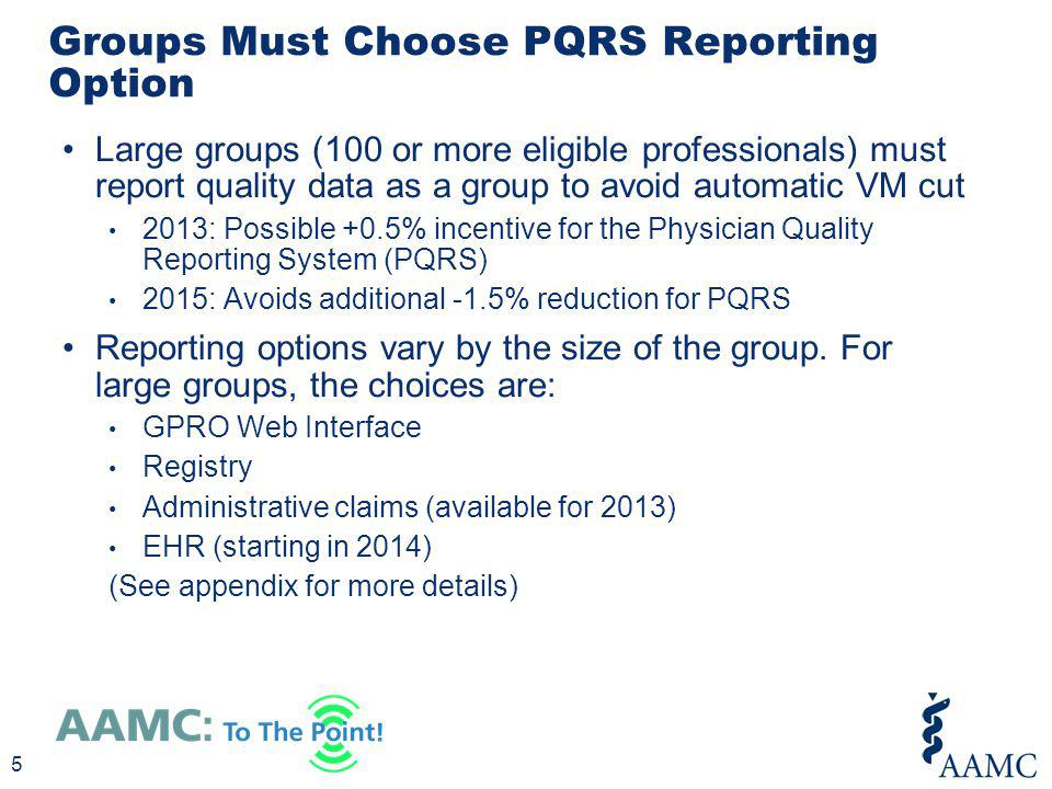Groups Must Choose PQRS Reporting Option