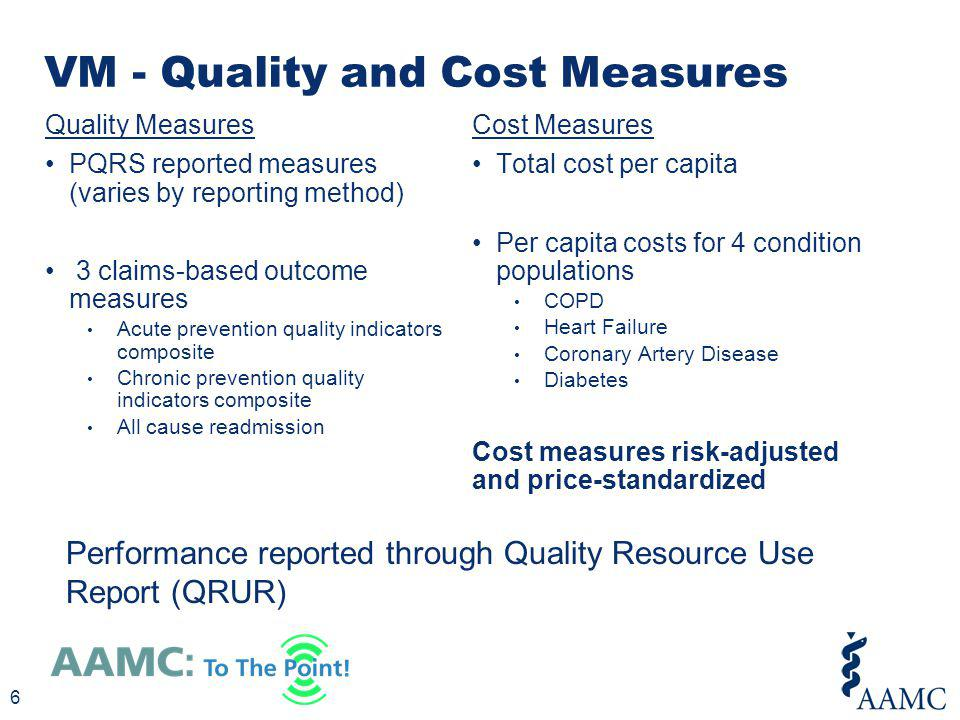 VM - Quality and Cost Measures