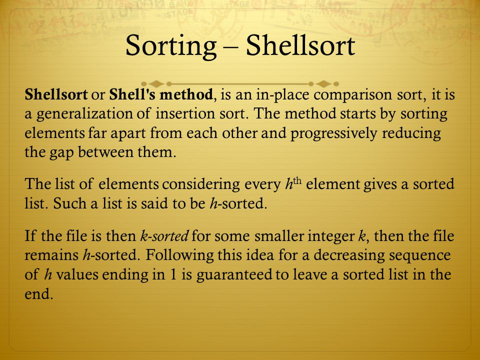 Sorting – Shellsort