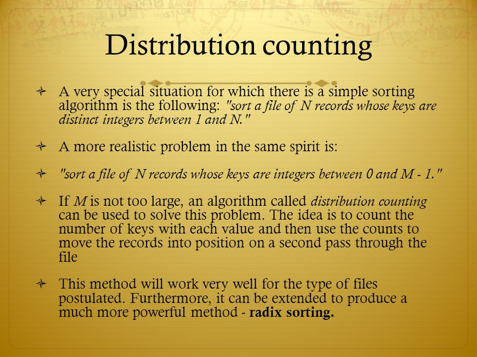 Distribution counting
