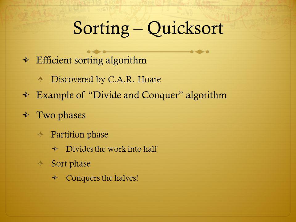 Sorting – Quicksort Efficient sorting algorithm