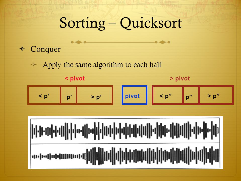 Sorting – Quicksort Conquer Apply the same algorithm to each half