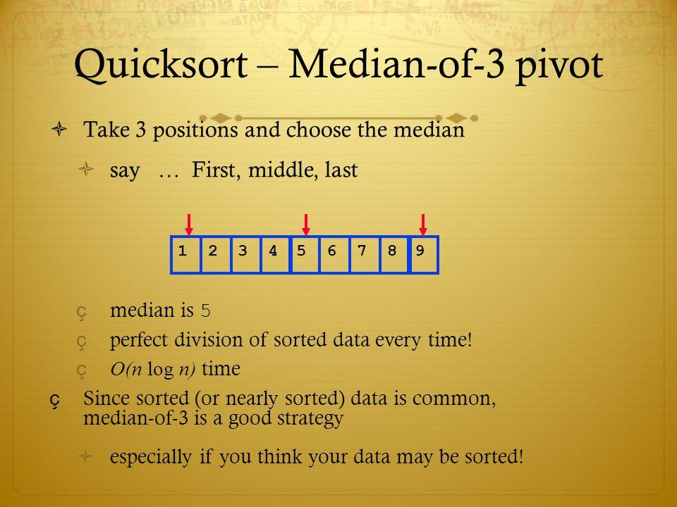 Quicksort – Median-of-3 pivot