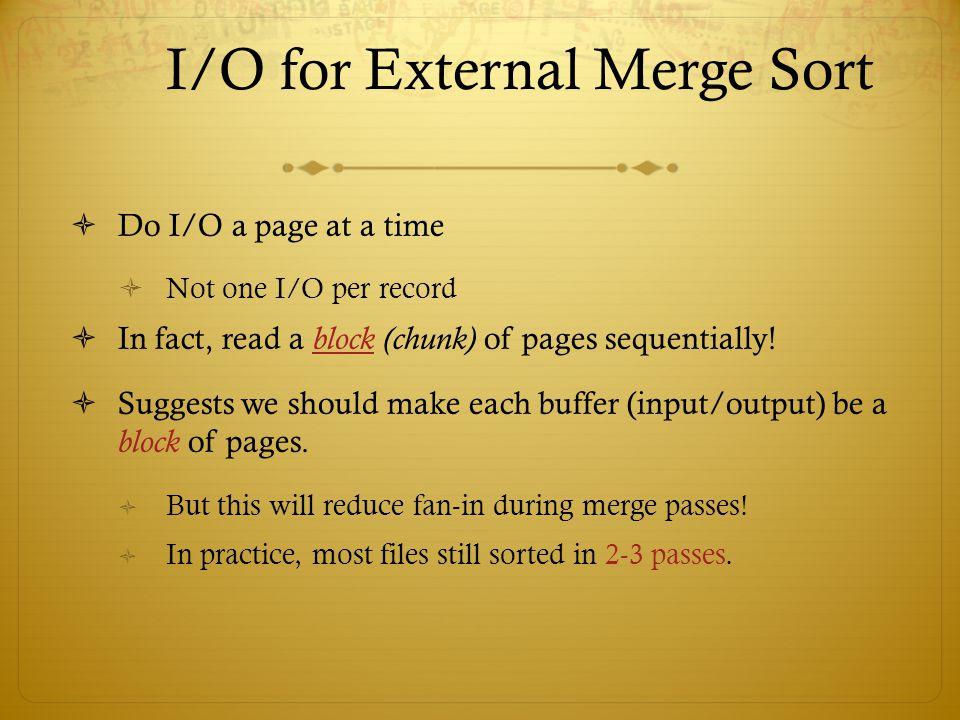 I/O for External Merge Sort