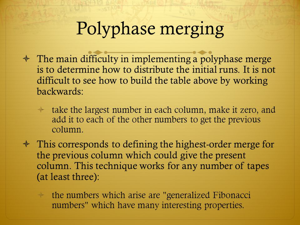 Polyphase merging