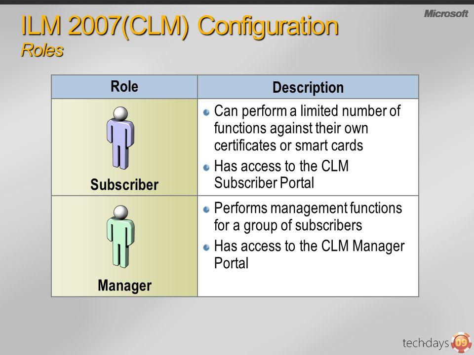 ILM 2007(CLM) Configuration Roles