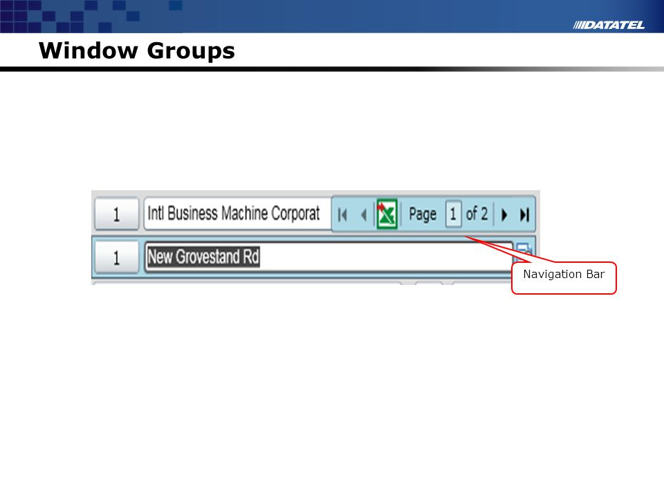 Window Groups Instructor Notes Navigation Bar Window Groups