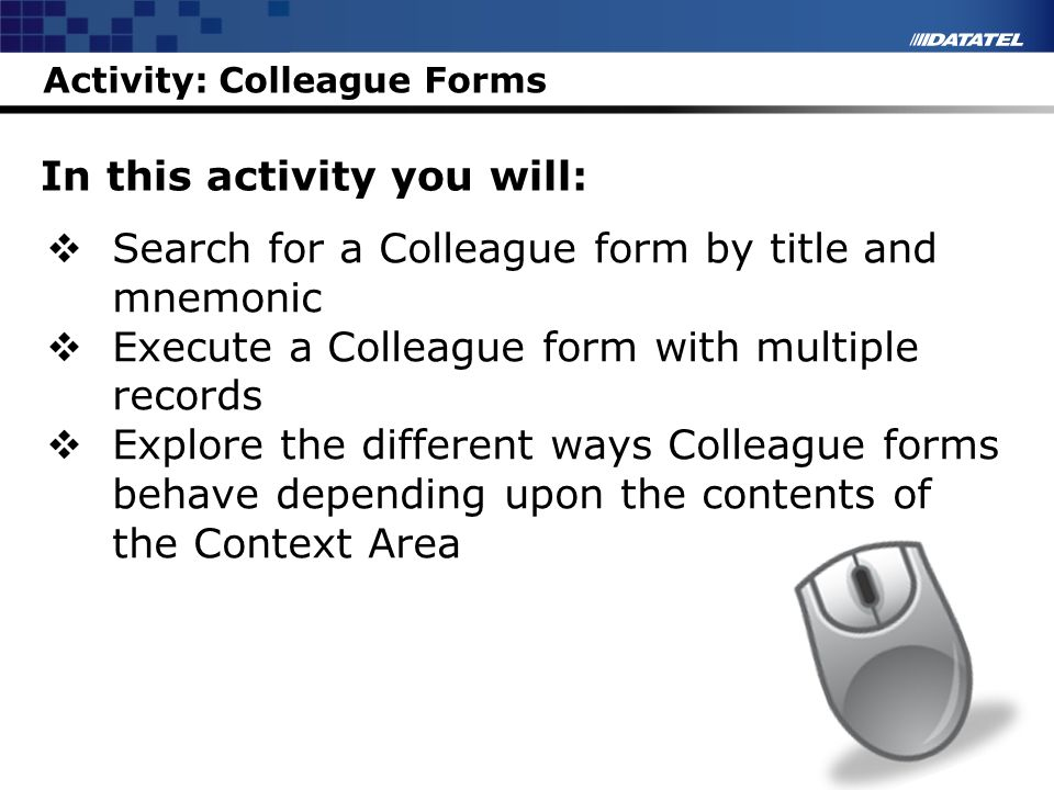 Activity: Colleague Forms