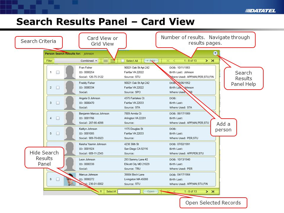 Search Results Panel – Card View