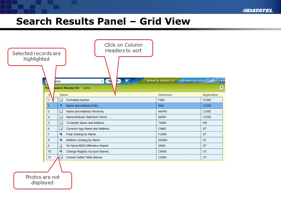 Search Results Panel – Grid View