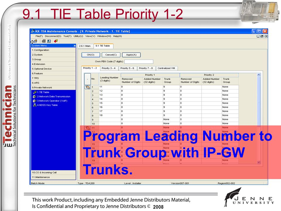 9.1 TIE Table Priority 1-2 Program Leading Number to Trunk Group with IP-GW Trunks.