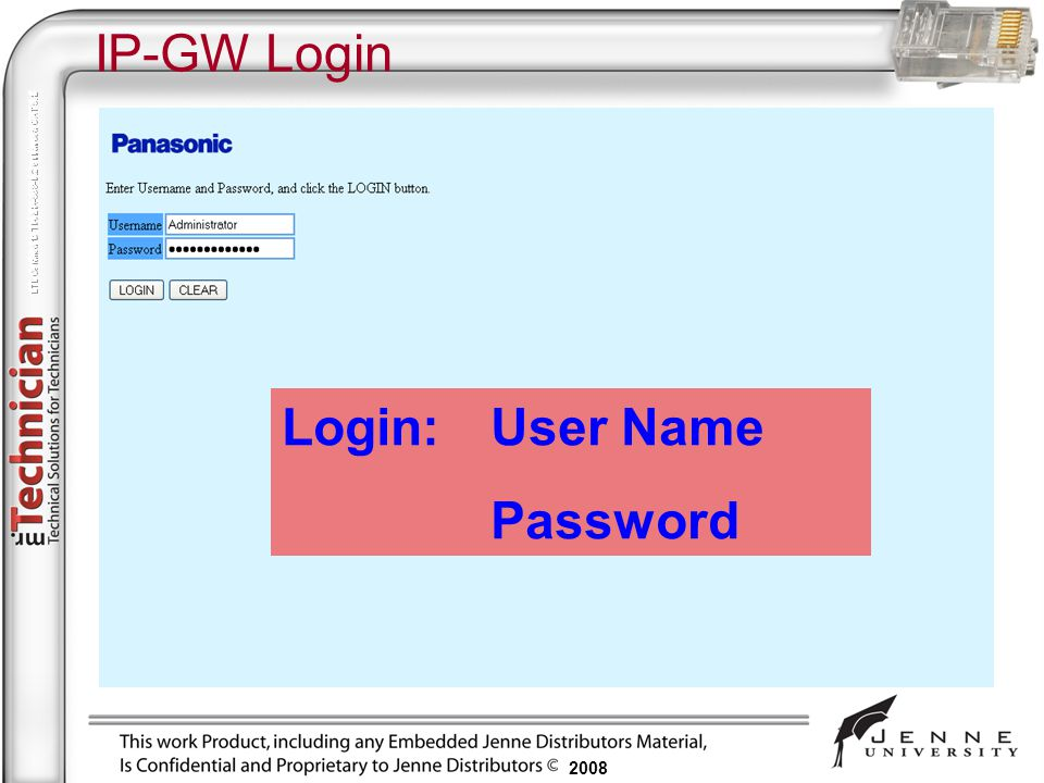 IP-GW Login Login: User Name Password