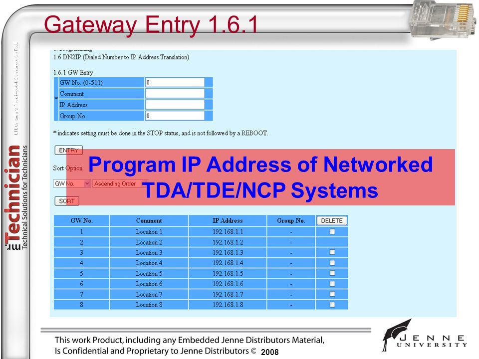 Program IP Address of Networked TDA/TDE/NCP Systems