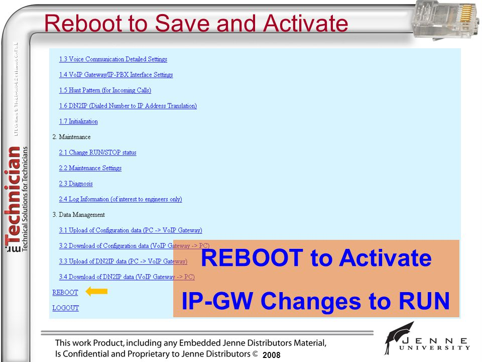 Reboot to Save and Activate