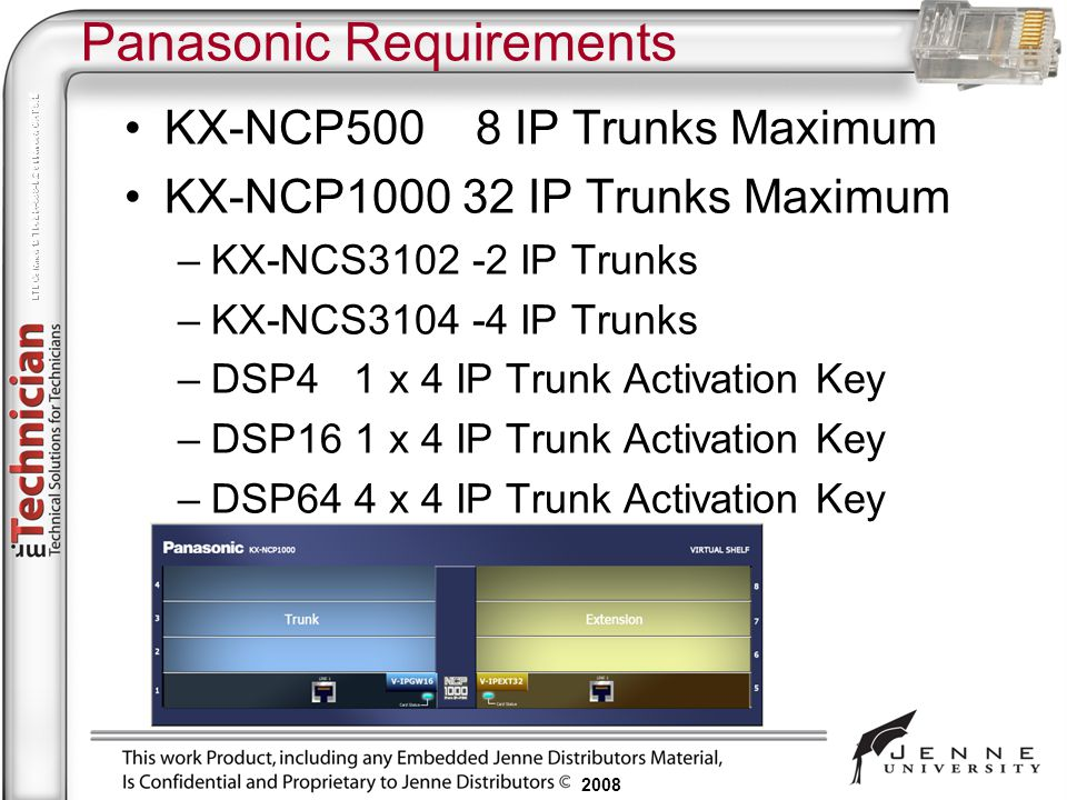 Panasonic Requirements