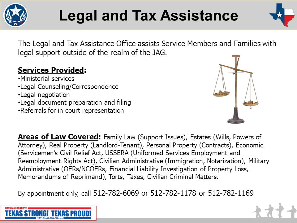 Legal and Tax Assistance