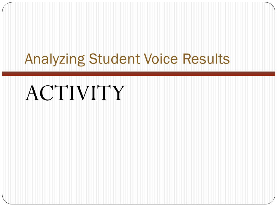 Analyzing Student Voice Results