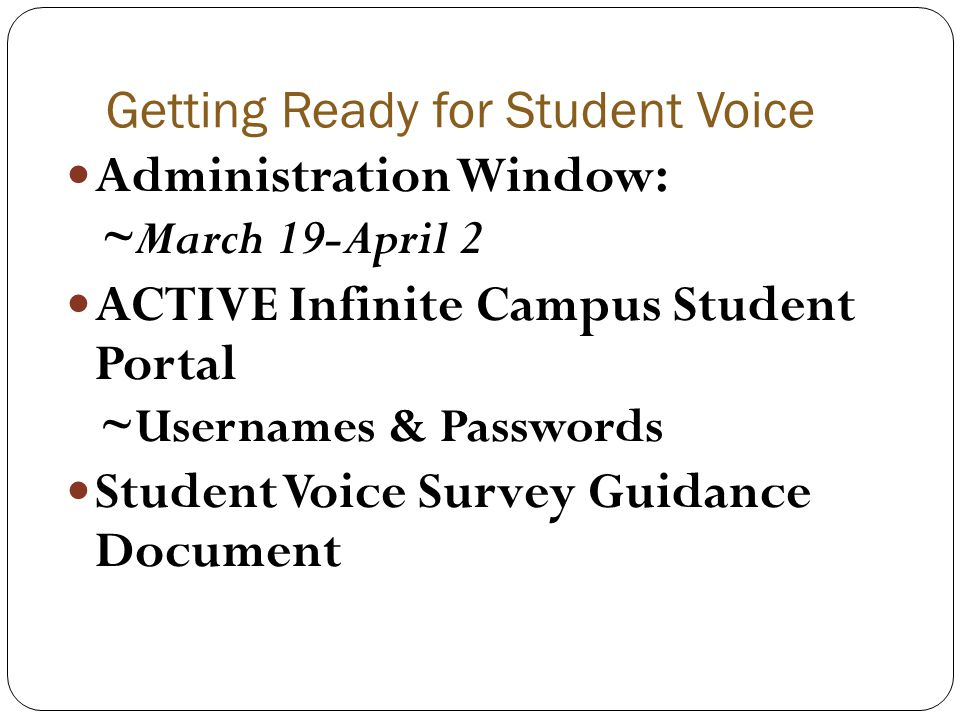 Getting Ready for Student Voice