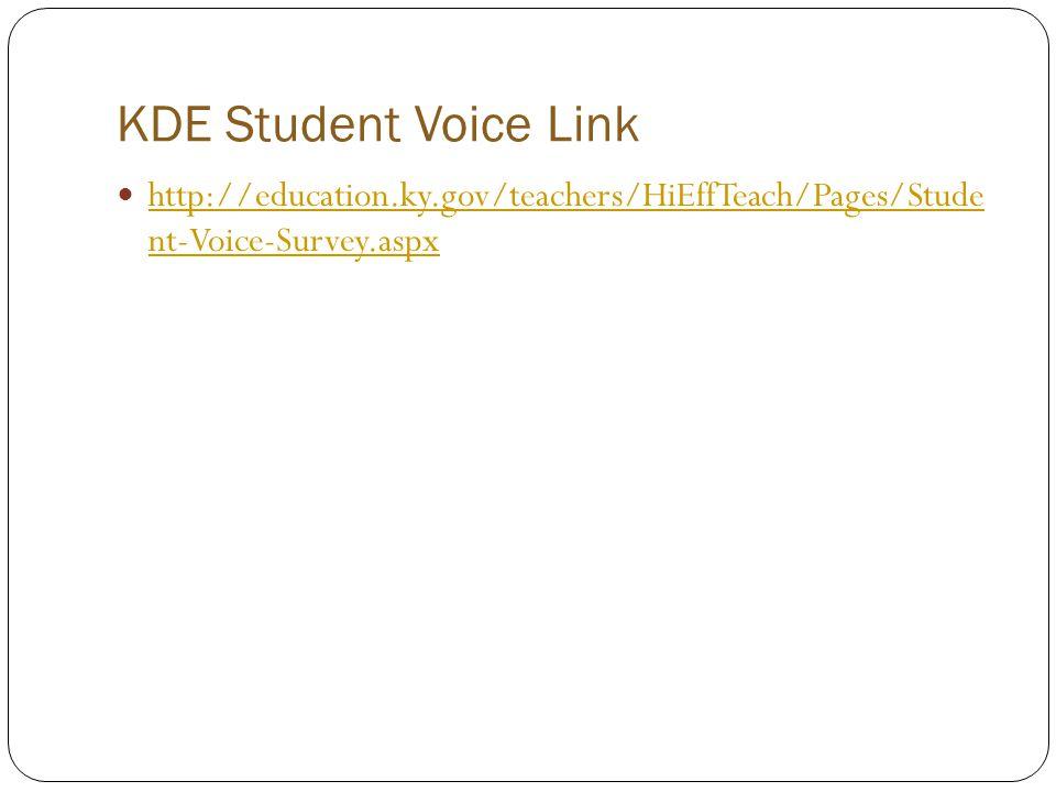 KDE Student Voice Link http://education.ky.gov/teachers/HiEffTeach/Pages/Stude nt-Voice-Survey.aspx.